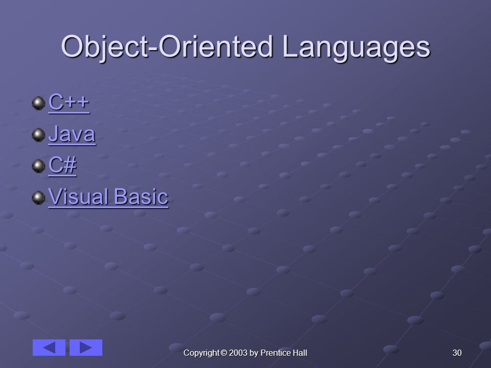 30Copyright © 2003 by Prentice Hall Object-Oriented Languages C++ Java C# Visual Basic Visual Basic