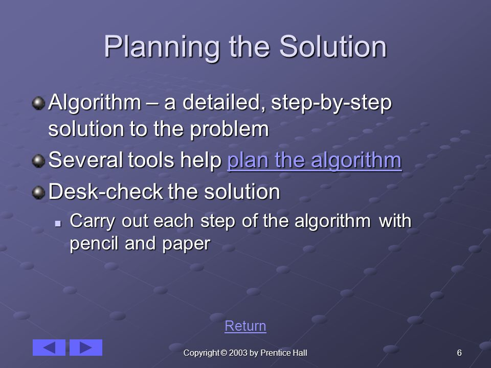 6Copyright © 2003 by Prentice Hall Planning the Solution Algorithm – a detailed, step-by-step solution to the problem Several tools help plan the algorithm plan the algorithmplan the algorithm Desk-check the solution Carry out each step of the algorithm with pencil and paper Carry out each step of the algorithm with pencil and paper Return