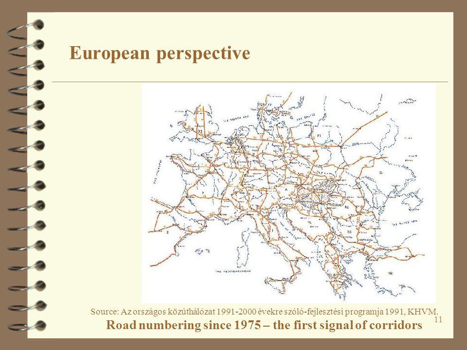 11 European perspective Source: Az országos közúthálózat 1991-2000 évekre szóló-fejlesztési programja 1991, KHVM.