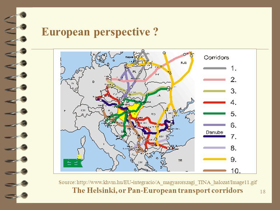 18 Source: http://www.khvm.hu/EU-integracio/A_magyarorszagi_TINA_halozat/Image11.gif The Helsinki, or Pan-European transport corridors European perspective