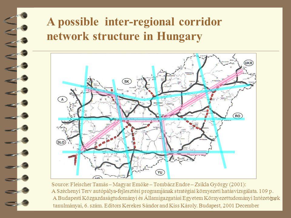 24 A possible inter-regional corridor network structure in Hungary Source: Fleischer Tamás – Magyar Emőke – Tombácz Endre – Zsikla György (2001): A Széchenyi Terv autópálya-fejlesztési programjának stratégiai környezeti hatásvizsgálata.