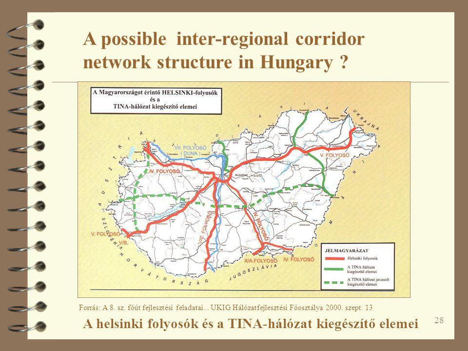 28 A helsinki folyosók és a TINA-hálózat kiegészítő elemei Forrás: A 8.