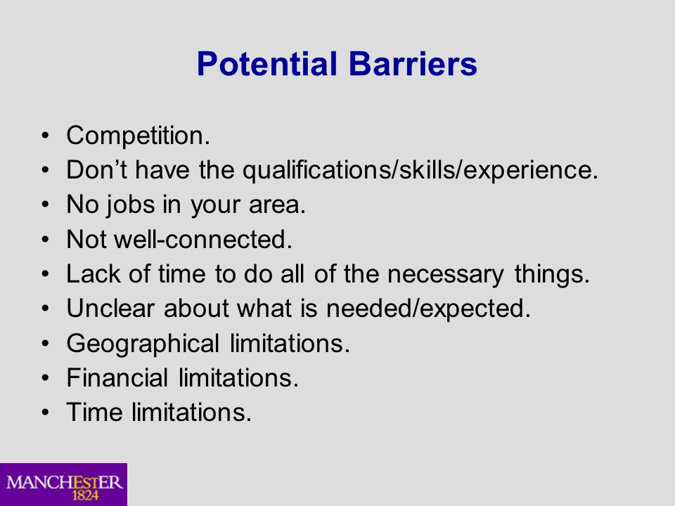 Potential Barriers Competition. Don't have the qualifications/skills/experience.