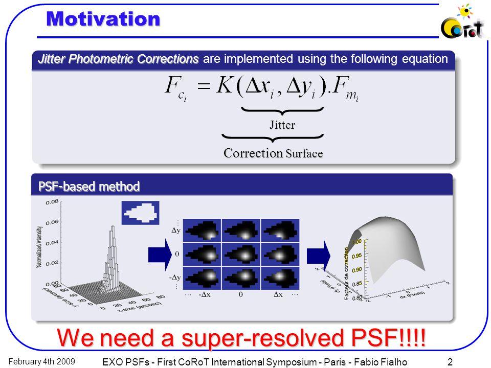 February 4th 2009 EXO PSFs - First CoRoT International Symposium - Paris - Fabio Fialho2 Correction Surface Jitter Jitter Photometric Corrections Jitt