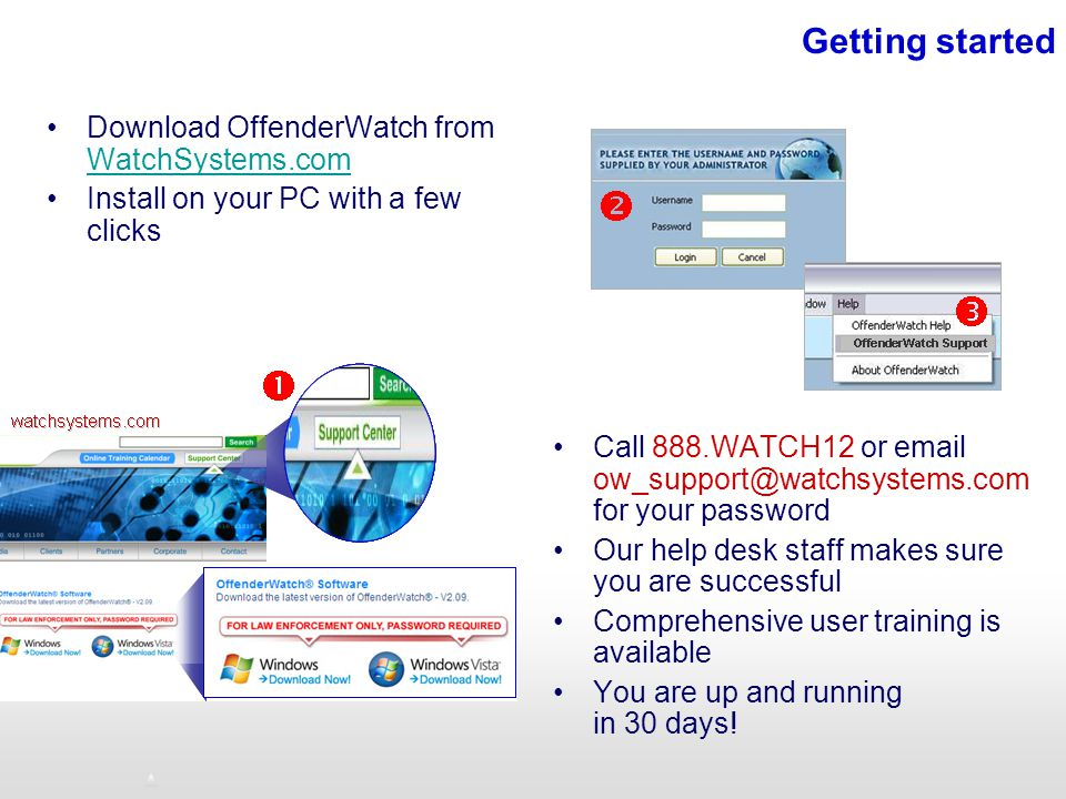 Getting started Download OffenderWatch from WatchSystems.com WatchSystems.com Install on your PC with a few clicks Call 888.WATCH12 or email ow_support@watchsystems.com for your password Our help desk staff makes sure you are successful Comprehensive user training is available You are up and running in 30 days!