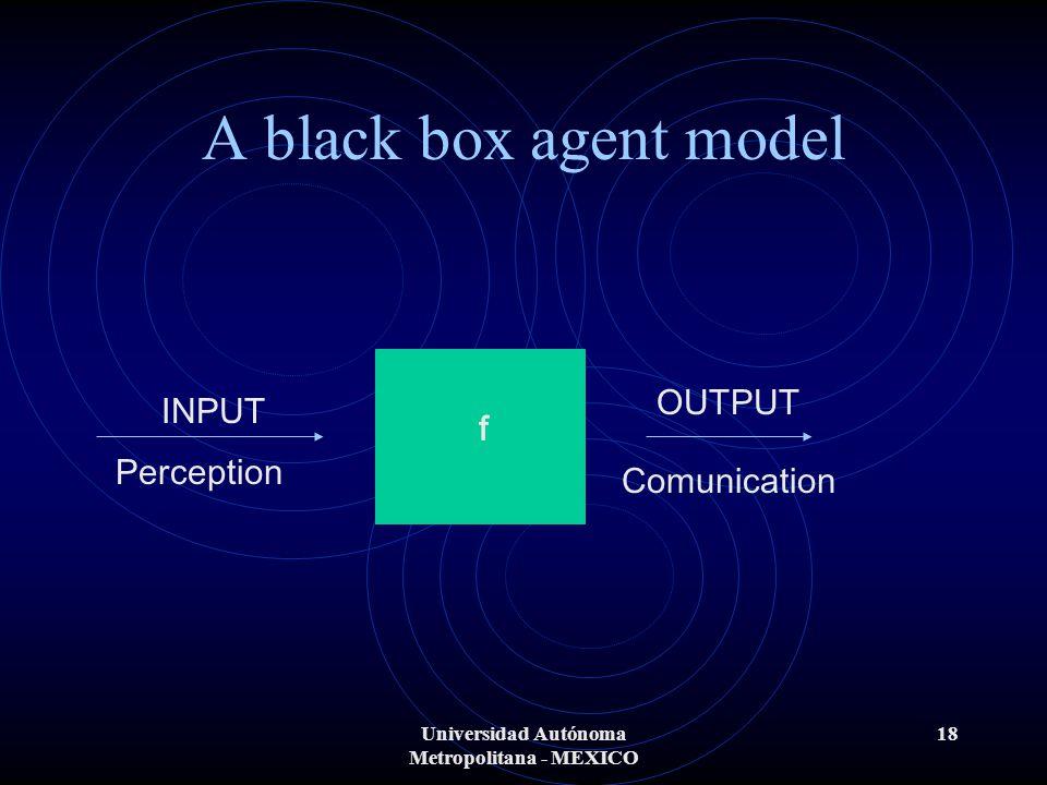 Universidad Autónoma Metropolitana - MEXICO 18 A black box agent model INPUT OUTPUT Perception Comunication f