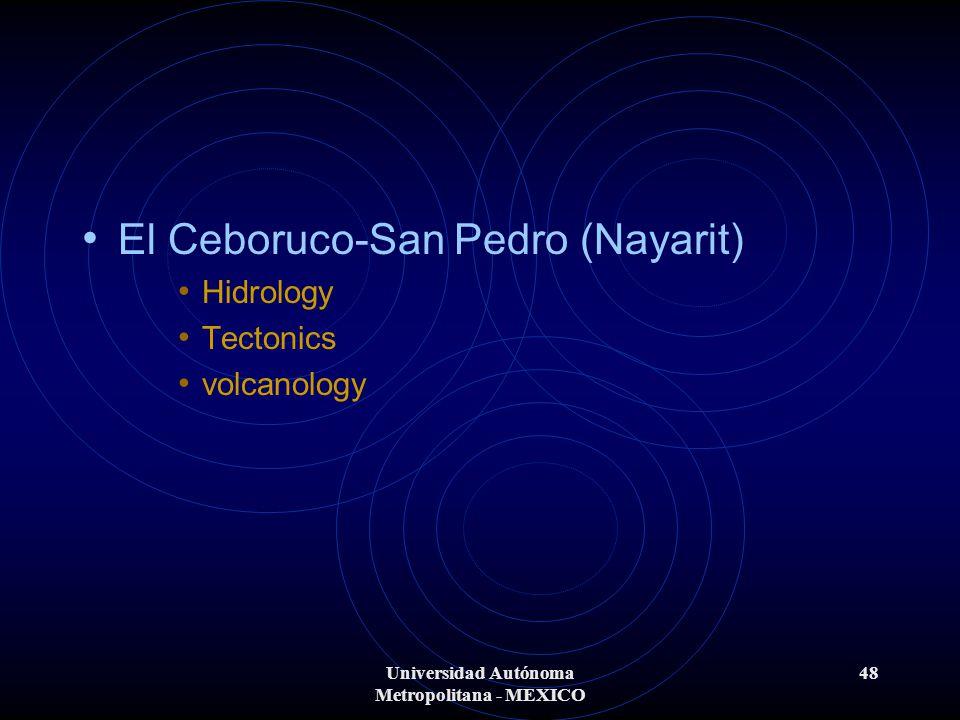 Universidad Autónoma Metropolitana - MEXICO 48 El Ceboruco-San Pedro (Nayarit) Hidrology Tectonics volcanology