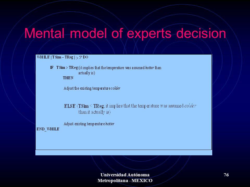 Universidad Autónoma Metropolitana - MEXICO 76 Mental model of experts decision