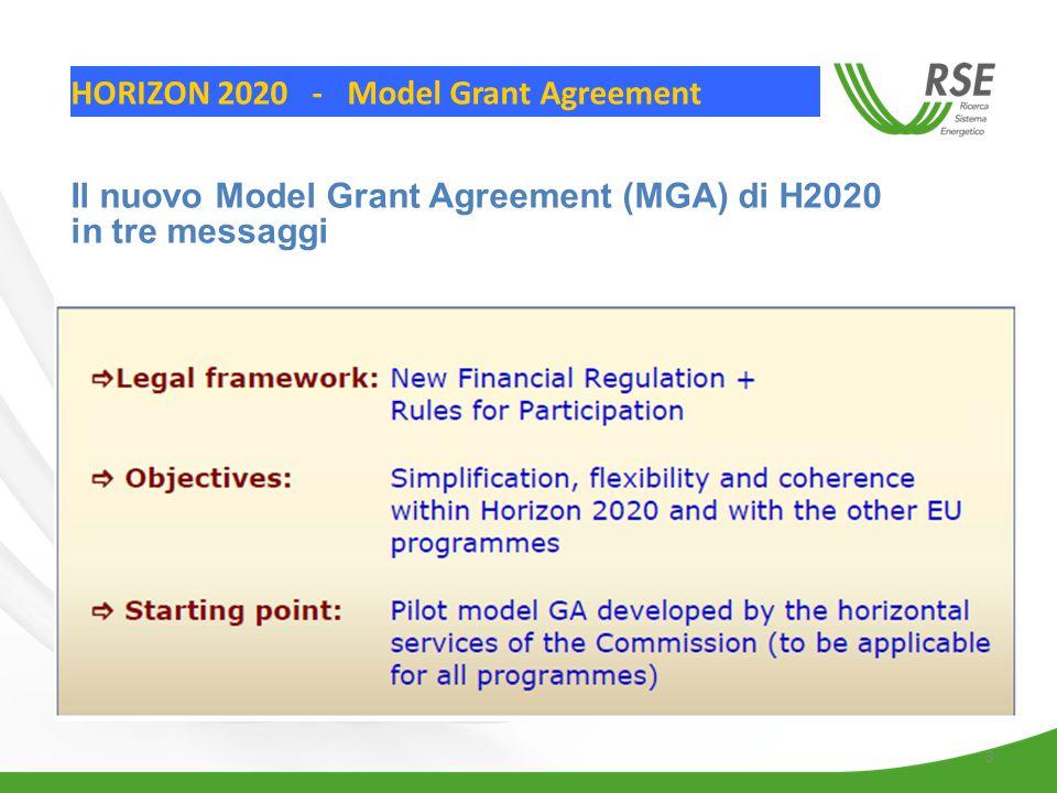 3 HORIZON 2020 - Model Grant Agreement Il nuovo Model Grant Agreement (MGA) di H2020 in tre messaggi