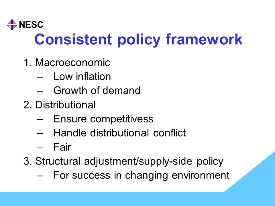 NESC Policy content for Ireland 1.Macroeconomic policy: EMS to EMU public finance correction 2.
