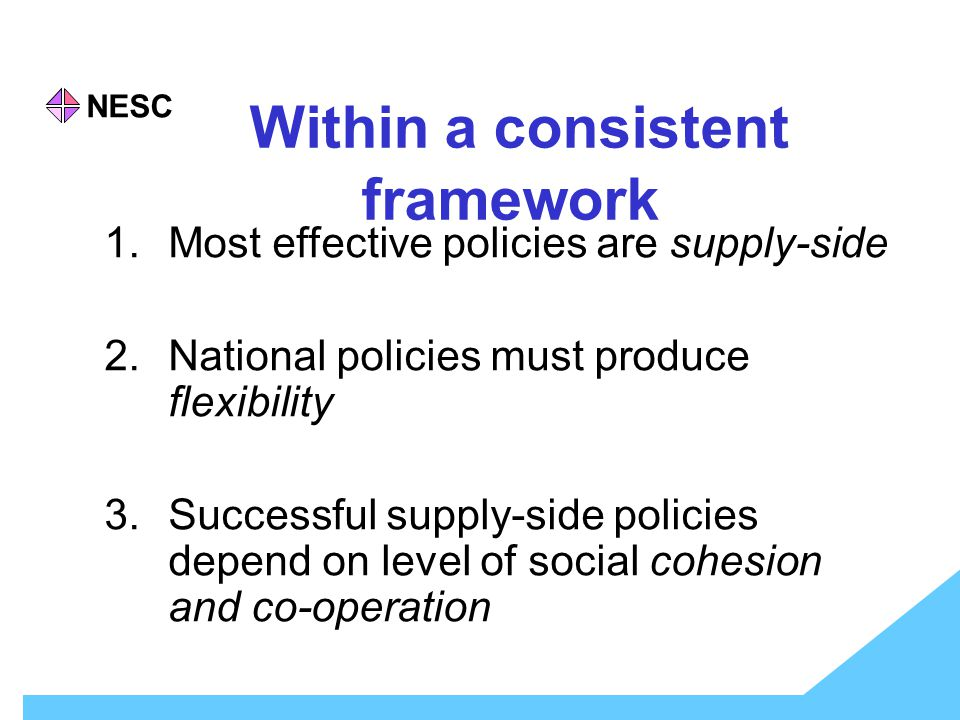 NESC Within a consistent framework 1.Most effective policies are supply-side 2.National policies must produce flexibility 3.Successful supply-side policies depend on level of social cohesion and co-operation