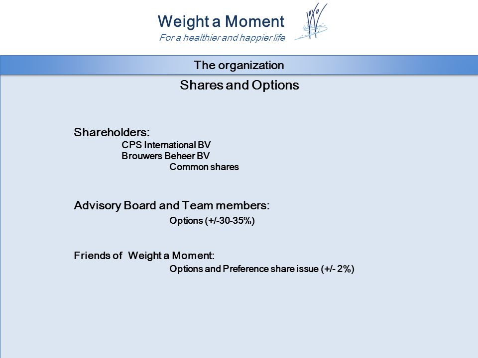 Weight a Moment For a healthier and happier life Shares and Options Shareholders: CPS International BV Brouwers Beheer BV Common shares Advisory Board and Team members: Options (+/-30-35%) Friends of Weight a Moment: Options and Preference share issue (+/- 2%) The organization