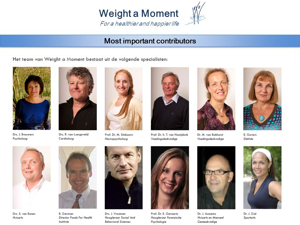 Weight a Moment For a healthier and happier life Most important contributors