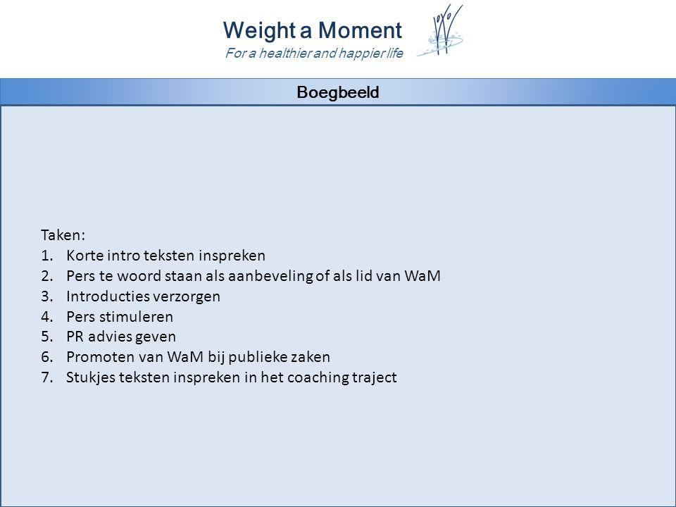 Weight a Moment For a healthier and happier life Boegbeeld Taken: 1.Korte intro teksten inspreken 2.Pers te woord staan als aanbeveling of als lid van