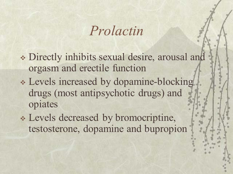 Prolactin  Directly inhibits sexual desire, arousal and orgasm and erectile function  Levels increased by dopamine-blocking drugs (most antipsychoti