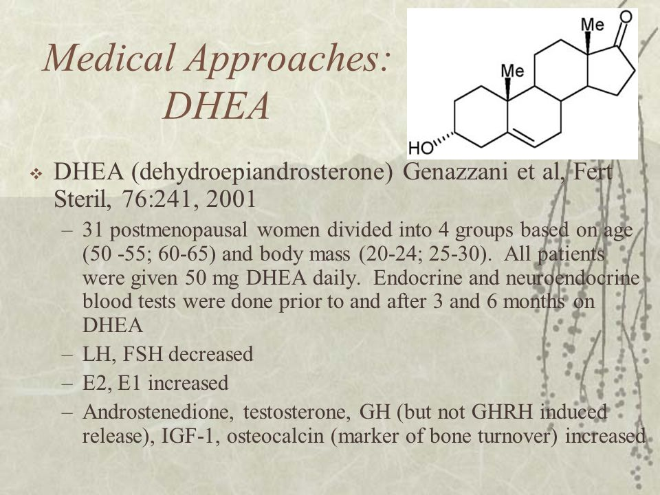 Medical Approaches: DHEA  DHEA (dehydroepiandrosterone) Genazzani et al, Fert Steril, 76:241, 2001 –31 postmenopausal women divided into 4 groups bas