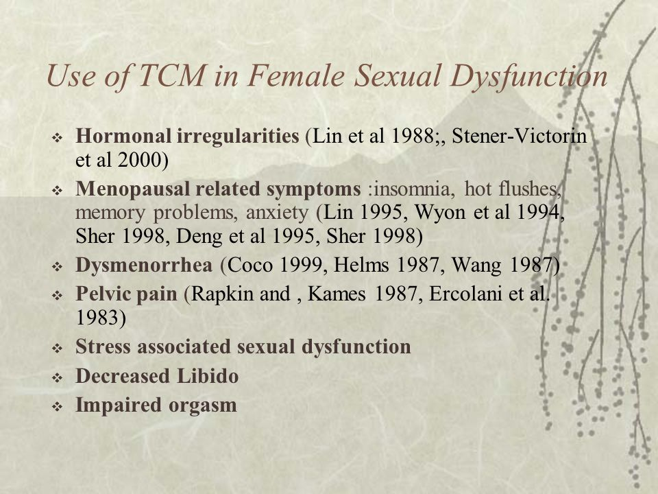 Use of TCM in Female Sexual Dysfunction  Hormonal irregularities (Lin et al 1988;, Stener-Victorin et al 2000)  Menopausal related symptoms :insomni