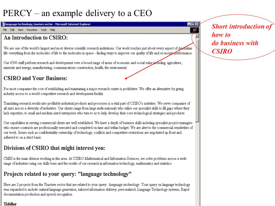PERCY – an example delivery to a CEO The project description and business relevance