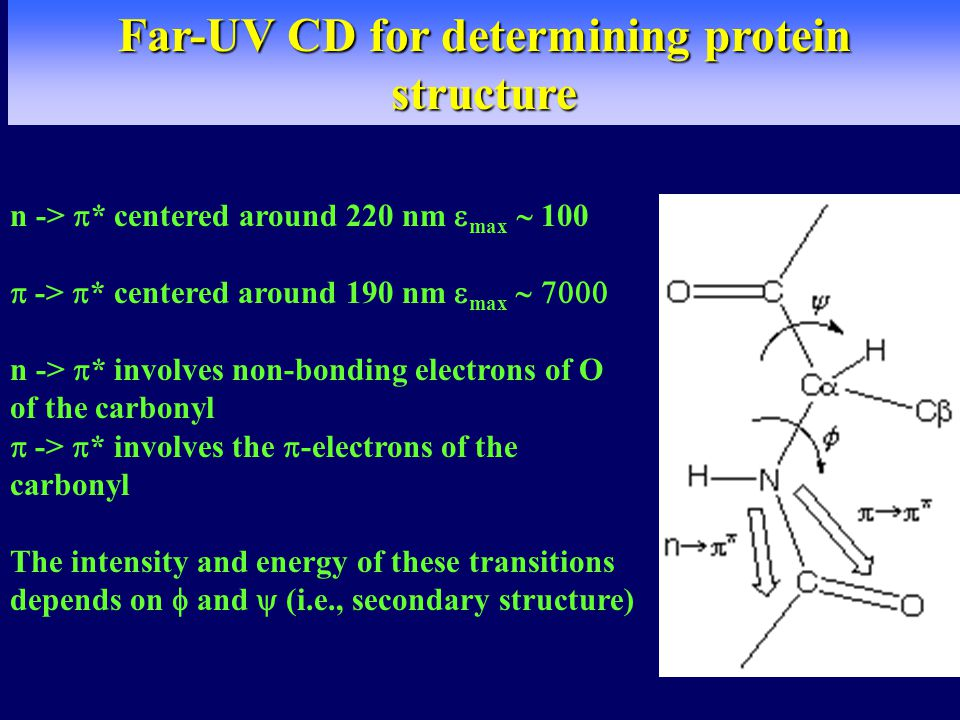 Far-UV CD for determining protein structure n ->  * centered around 220 nm  max  100  ->  * centered around 190 nm  max  n ->  * involves non-bonding electrons of O of the carbonyl  ->  * involves the  -electrons of the carbonyl The intensity and energy of these transitions depends on  and  (i.e., secondary structure)