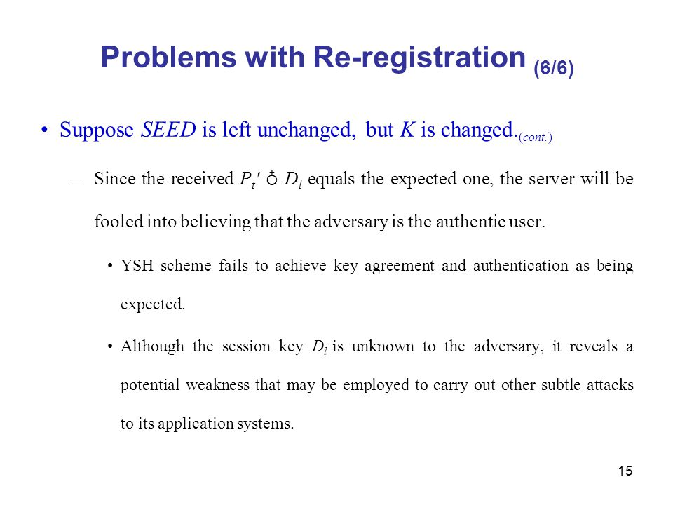 15 Problems with Re-registration (6/6) Suppose SEED is left unchanged, but K is changed.