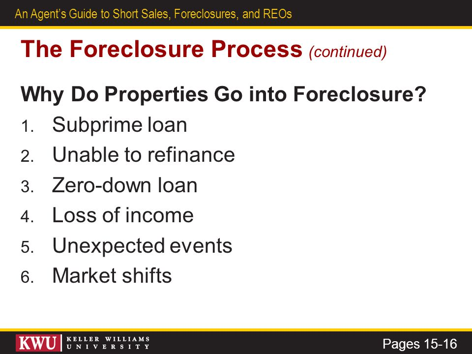 10 An Agent's Guide to Short Sales, Foreclosures, and REOs The Foreclosure Process (continued) Potential Challenges and Rewards How can you set yourself apart from the myriad of ads and calls proposing questionable schemes.