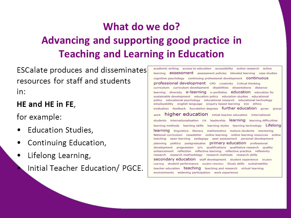 What do we do? Advancing and supporting good practice in Teaching and Learning in Education ESCalate produces and disseminates resources for staff and