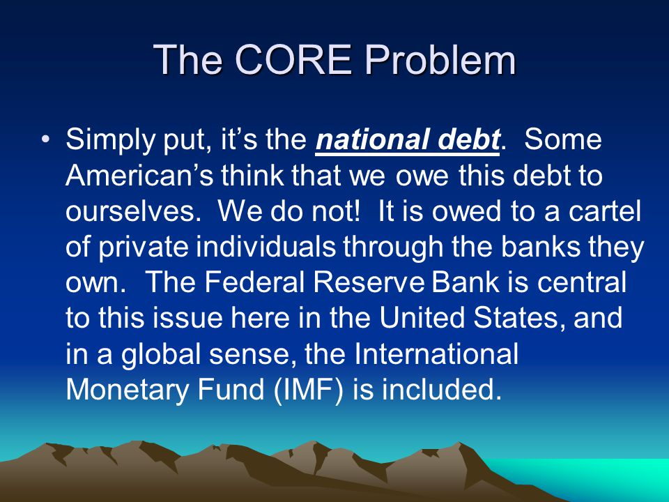 Returning Coming back from our little historical trek, we return our focus to the core problem, the debt.
