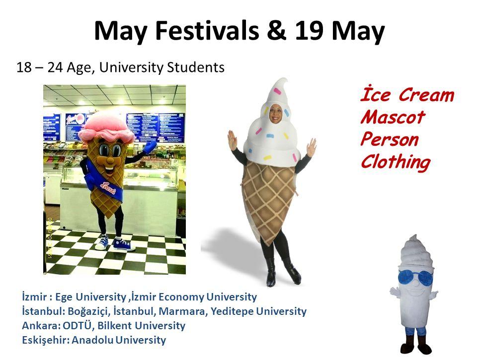 May Festivals & 19 May İce Cream Mascot Person Clothing İzmir : Ege University,İzmir Economy University İstanbul: Boğaziçi, İstanbul, Marmara, Yeditep
