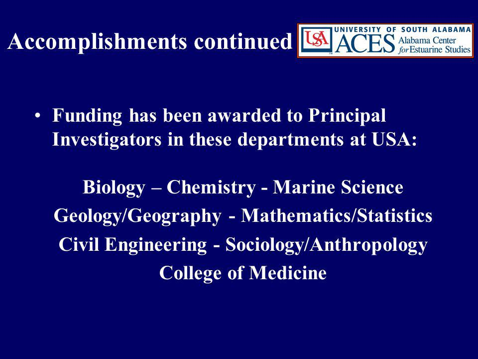 Funding has been awarded to Principal Investigators in these departments at USA: Biology – Chemistry - Marine Science Geology/Geography - Mathematics/Statistics Civil Engineering - Sociology/Anthropology College of Medicine Accomplishments continued