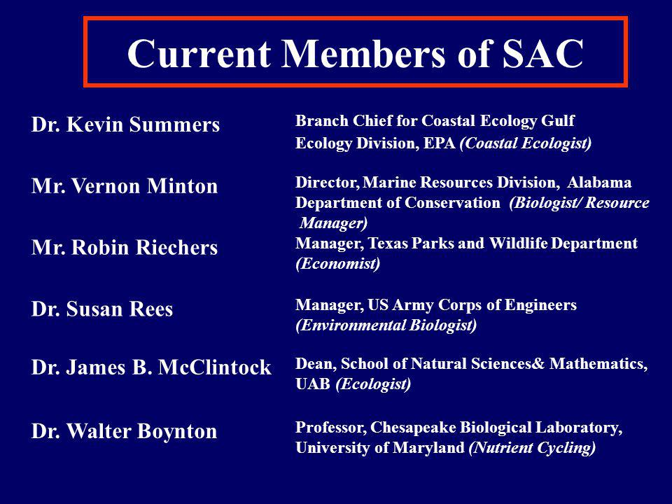 Current Members of SAC Dr. Kevin Summers Mr. Vernon Minton Mr.