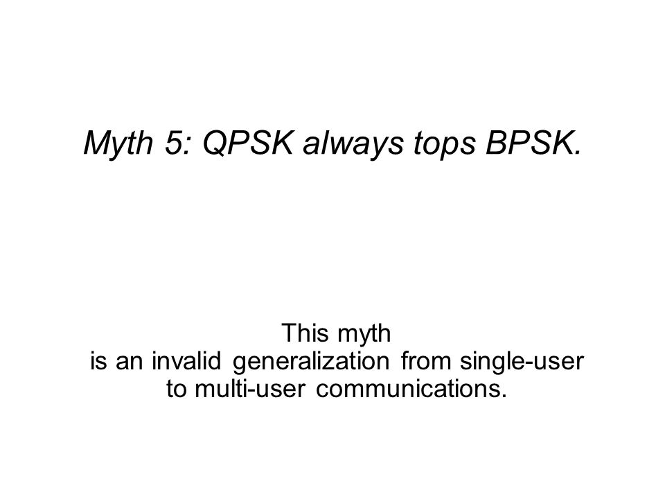 Myth 5: QPSK always tops BPSK. This myth is an invalid generalization from single-user to multi-user communications.