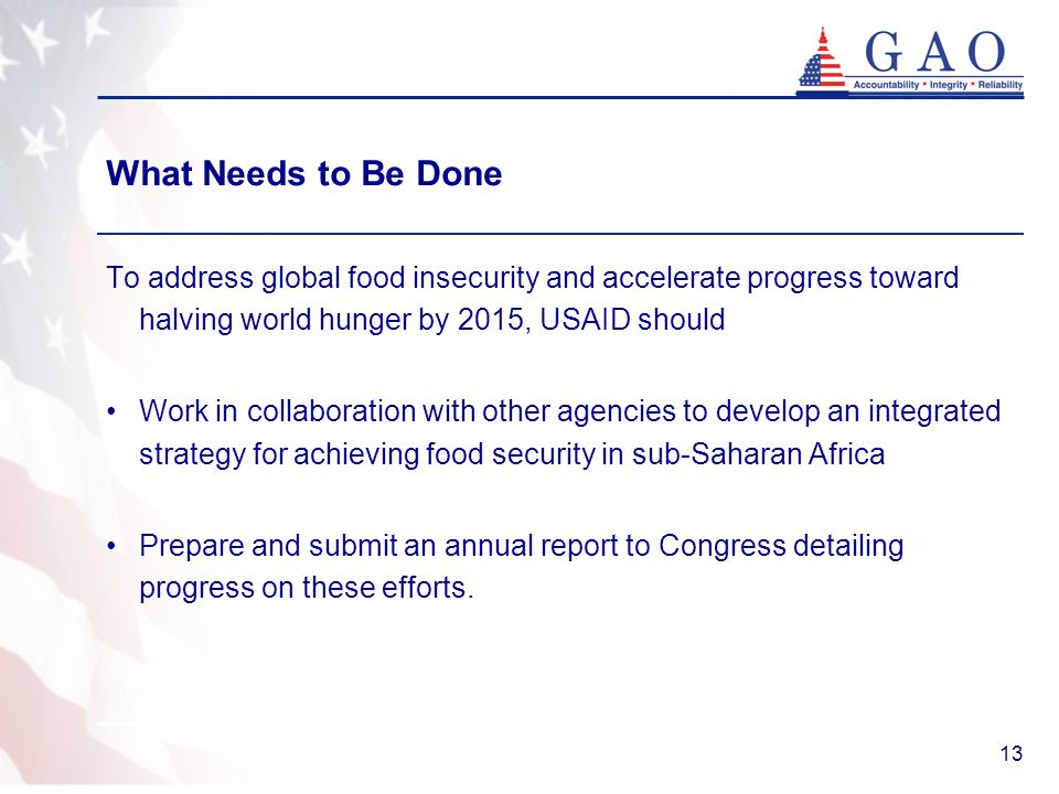 13 What Needs to Be Done To address global food insecurity and accelerate progress toward halving world hunger by 2015, USAID should Work in collaboration with other agencies to develop an integrated strategy for achieving food security in sub-Saharan Africa Prepare and submit an annual report to Congress detailing progress on these efforts.