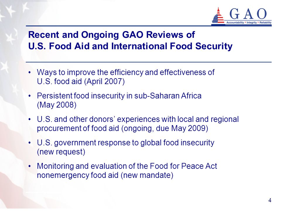 4 Recent and Ongoing GAO Reviews of U.S.