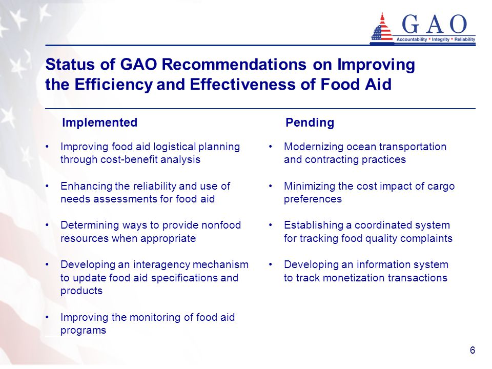 6 Status of GAO Recommendations on Improving the Efficiency and Effectiveness of Food Aid Implemented Pending Improving food aid logistical planning through cost-benefit analysis Enhancing the reliability and use of needs assessments for food aid Determining ways to provide nonfood resources when appropriate Developing an interagency mechanism to update food aid specifications and products Improving the monitoring of food aid programs Modernizing ocean transportation and contracting practices Minimizing the cost impact of cargo preferences Establishing a coordinated system for tracking food quality complaints Developing an information system to track monetization transactions