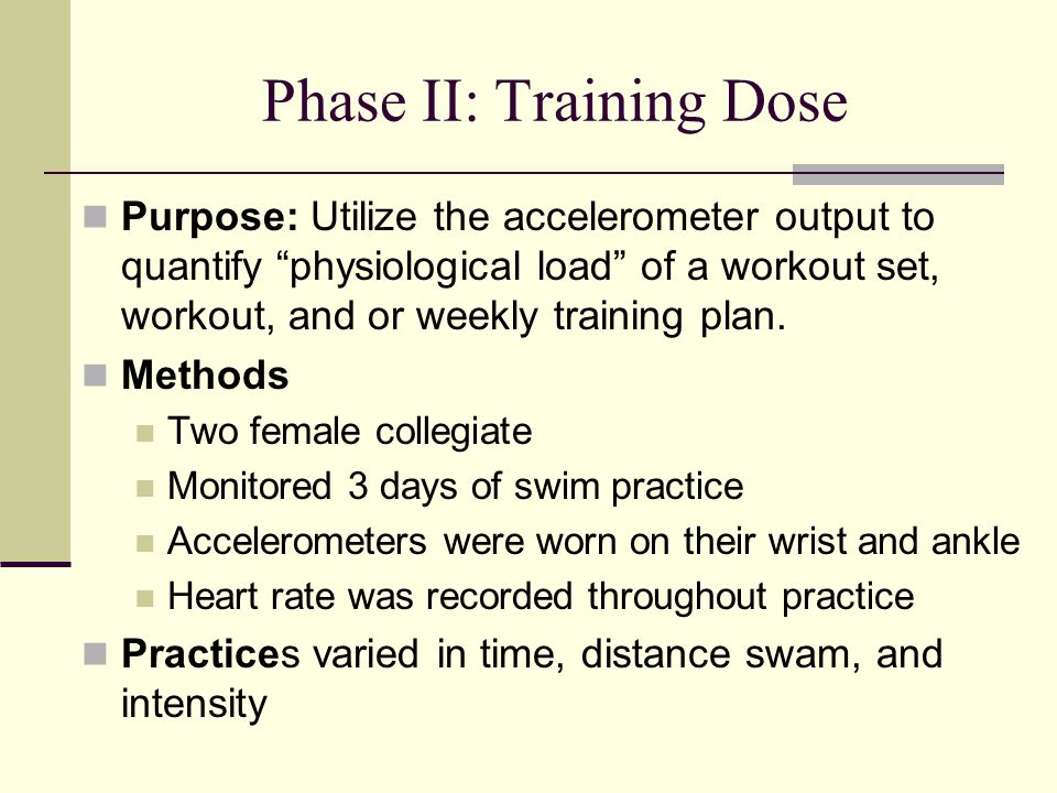 Phase II: Training Dose Purpose: Utilize the accelerometer output to quantify physiological load of a workout set, workout, and or weekly training plan.