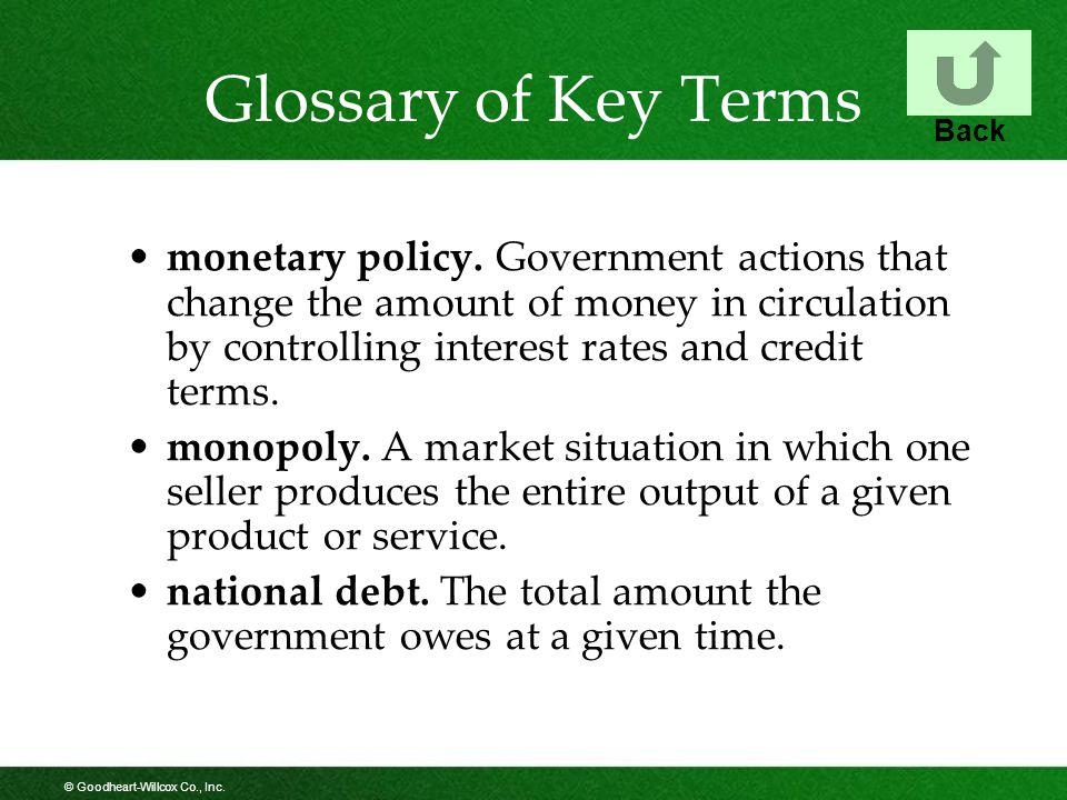 © Goodheart-Willcox Co., Inc.Glossary of Key Terms monetary policy.