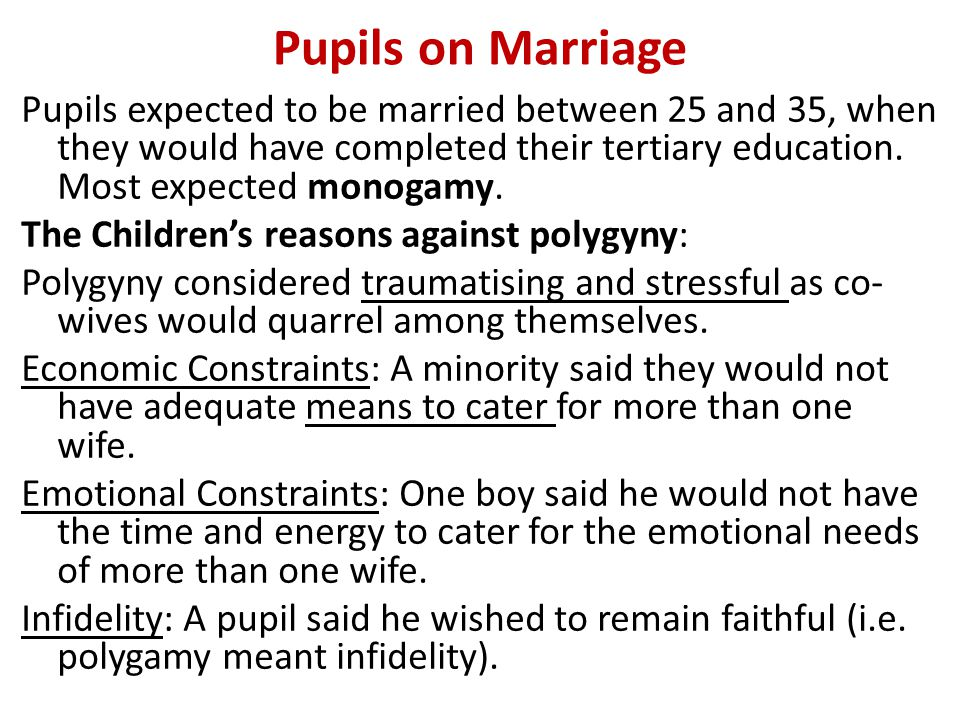 Pupils on Marriage Pupils expected to be married between 25 and 35, when they would have completed their tertiary education.