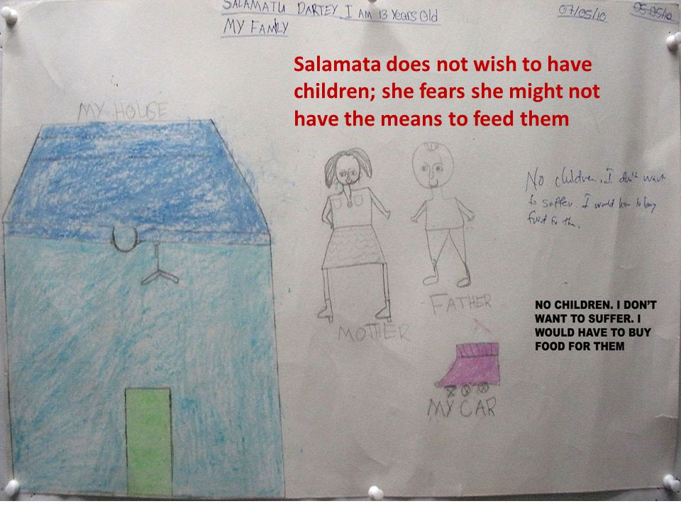 Salamata does not wish to have children; she fears she might not have the means to feed them