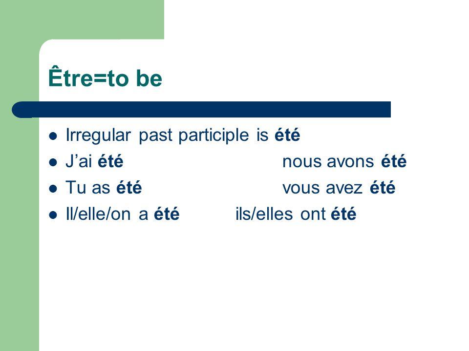 Lire=to read Irregular past participle is lu J'ai lunous avons lu Tu as luvous avez lu Il/elle/on a luils/elles ont lu
