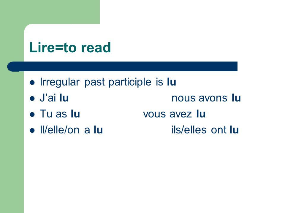 Mettre=to put/place Irregular past participle is mis J'ai misnous avons mis Tu as misvous avez mis Il/elle/on a misils/elles ont mis
