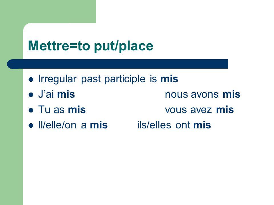 Pouvoir= to be able/can Irregular past participle is pu J'ai punous avons pu Tu as puvous avez pu Il/elle/on a puils/elles ont pu