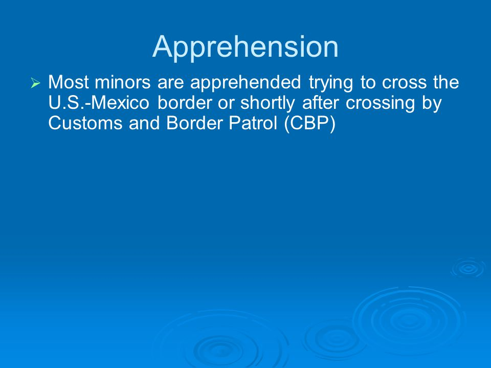 Apprehension   Most minors are apprehended trying to cross the U.S.-Mexico border or shortly after crossing by Customs and Border Patrol (CBP)