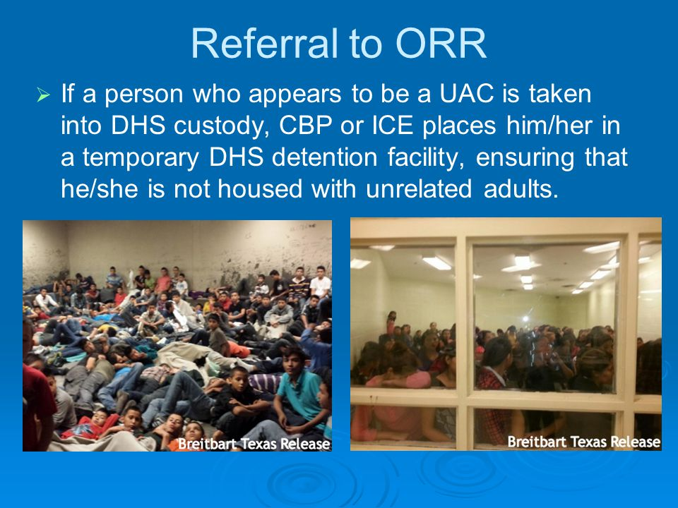 Referral to ORR   If a person who appears to be a UAC is taken into DHS custody, CBP or ICE places him/her in a temporary DHS detention facility, en
