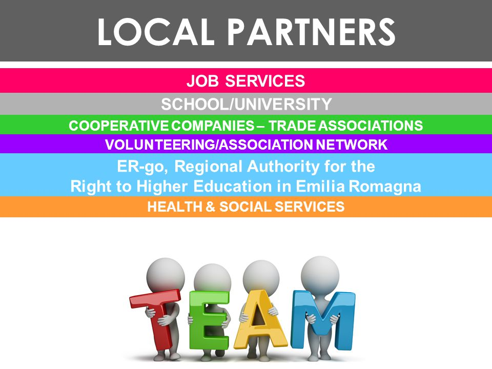 LOCAL PARTNERS SCHOOL/UNIVERSITY COOPERATIVE COMPANIES – TRADE ASSOCIATIONS VOLUNTEERING/ASSOCIATION NETWORK ER-go, Regional Authority for the Right to Higher Education in Emilia Romagna HEALTH & SOCIAL SERVICES JOB SERVICES