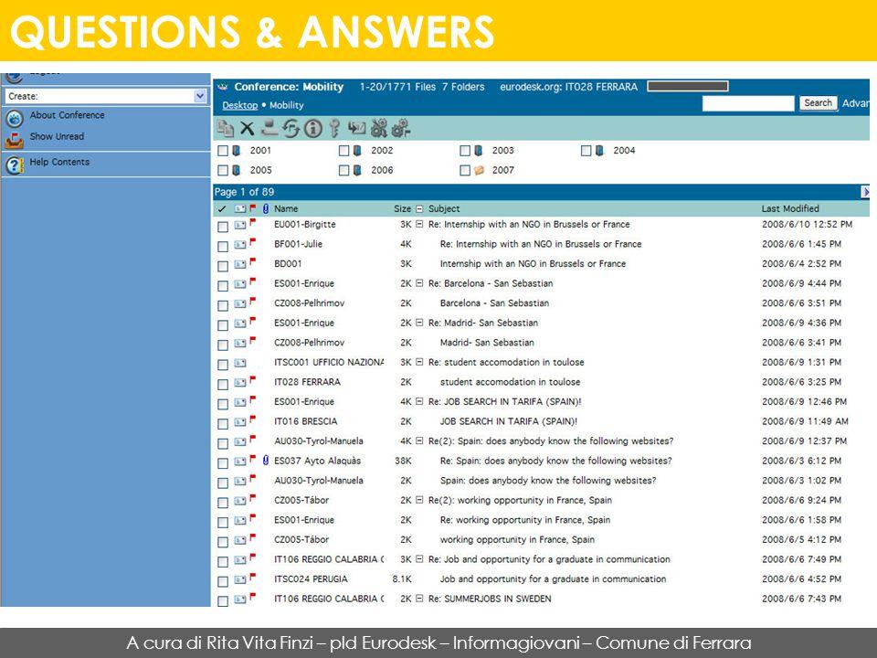 QUESTIONS & ANSWERS A cura di Rita Vita Finzi – pld Eurodesk – Informagiovani – Comune di Ferrara