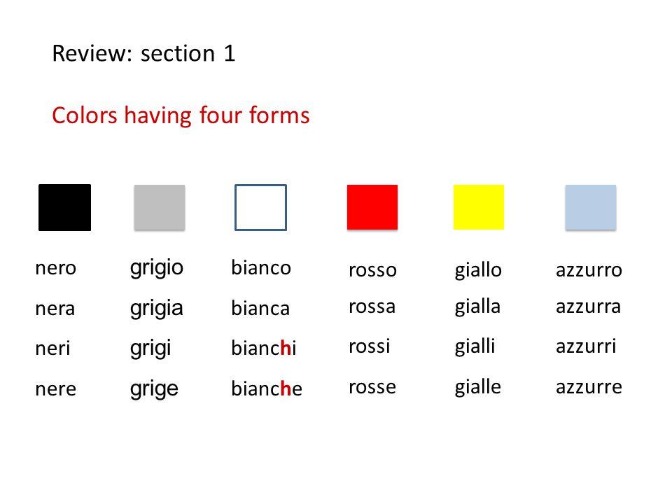 rosso rossa rossi rosse giallo gialla gialli gialle Review: section 1 Colors having four forms nero nera neri nere grigio grigia grigi grige bianco bi