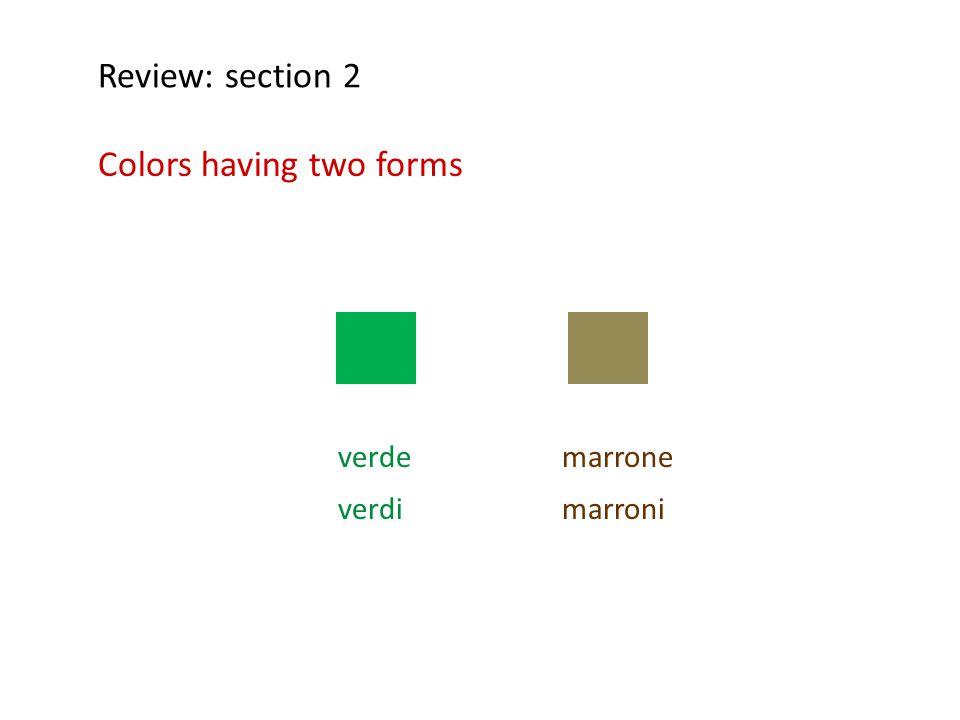 marrone marroni Review: section 2 Colors having two forms verde verdi