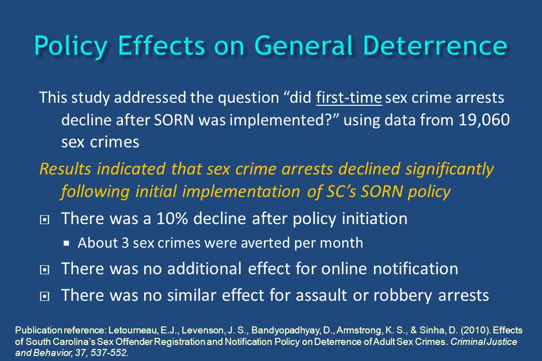 "This study addressed the question ""did first-time sex crime arrests decline after SORN was implemented?"" using data from 19,060 sex crimes Results ind"