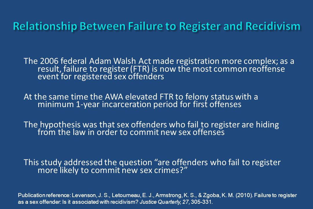 The 2006 federal Adam Walsh Act made registration more complex; as a result, failure to register (FTR) is now the most common reoffense event for regi