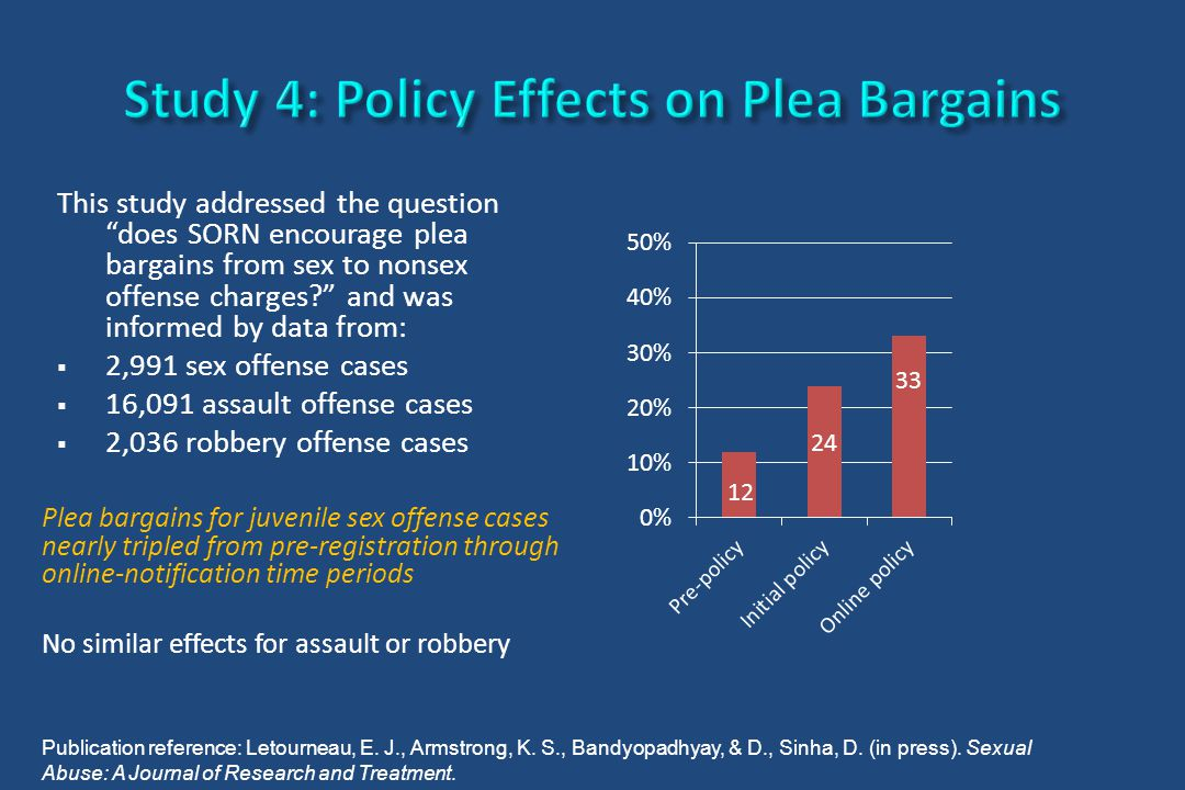 "This study addressed the question ""does SORN encourage plea bargains from sex to nonsex offense charges?"" and was informed by data from:  2,991 sex o"